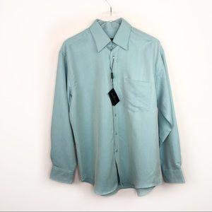 Bugatchi Blue Silk Button Dress Shirt Long Sleeve